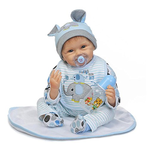 Nicery Reborn Baby Doll Soft Simulation Silicone Vinyl 22inch 55cm Magnetic Mouth Lifelike Toy Boy Girl RD55C172