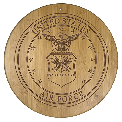 Totally Bamboo Air Force Cutting and Serving Board, Permanently Etched Official Military Seal - Air Force Memorabilia