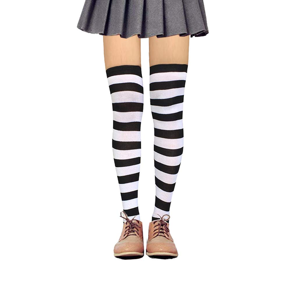 1 Pair Black&white Striped Thigh High Socks, RTZAT Women's Stripe Long Tube Over Knee High Cotton Cosplay Socks, 13 Pairs
