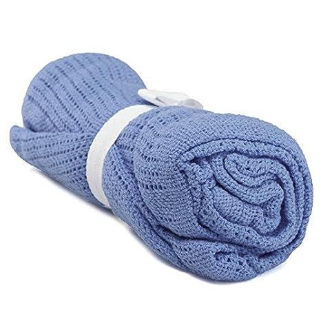SODIAL 100% Cotton Baby Infant Cellular Soft Blanket Pram Cot Bed Mosses Basket Crib Color:Deep blue AXSSD-001249