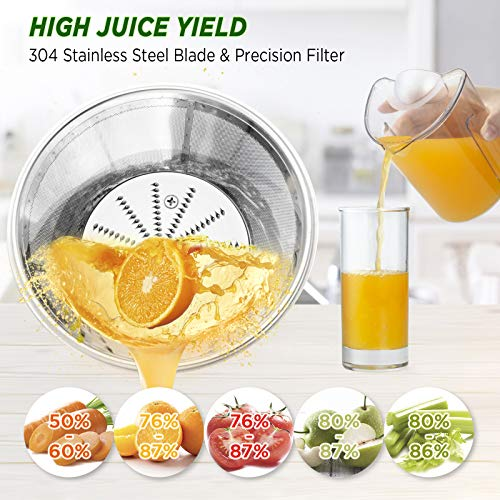 CHULUX Juicer Machine, Centrifugal Juice Extractor Maker with Recipe Book, Wide Mouth Juicing Machine, High Juice Yield, BPA-Free, Easy to Clean, for Fruits and Veggies