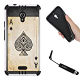 vintage ace case - Alcatel Pixi Theatre Case, Hybrid 2-Layer Shock Proof Rugged Armor Hard Cover Case by URAKKI for Alcatel Pixi Theatre [Vintage Ace Card] Case