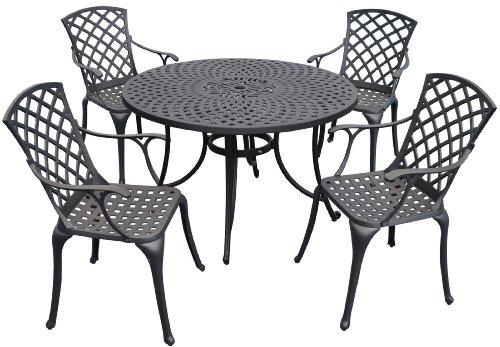 Oasis 5 Piece - Crosley Furniture KOD6002BK Sedona 5-Piece Solid-Cast Aluminum Outdoor Dining Set with 48-inch Table and 4 High-Back Arm Chairs, Black