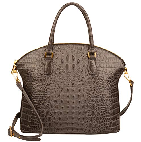 Ainifeel Women's Genuine Leather Alligator Large Top Handle Handbags Satchel Everyday Purse