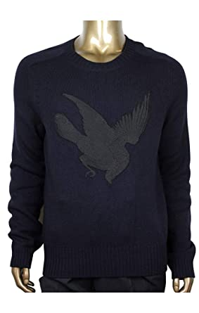 3df2244d616 Gucci Men s Blue Cashmere Wool Sweater with Bird Patch 430077 4265 (Medium)