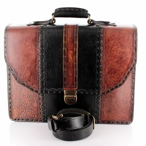 14 inch Handmade Leather Men's Briefcase Messenger Laptop Bag Purse Handbag Large Brown by EleganceAccessories