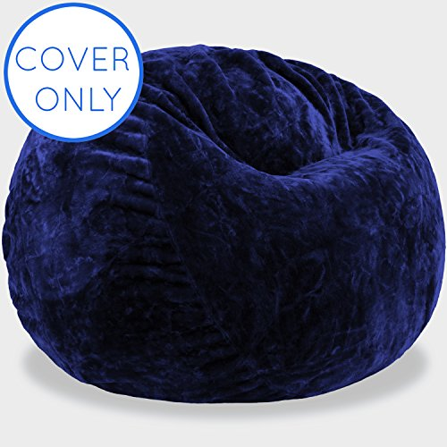 Premium 4-Feet Replacement Cover in Sapphire - Fits Big Joe, Comfort Research, Lovesac, Chill Bag, Sofa Sack, Cozy Sack & Panda Sleep Bean Bag Chairs - Machine Washable - Plush & Durable Faux Fur