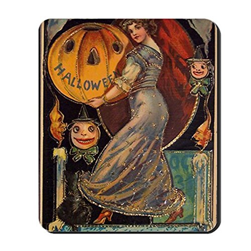 CafePress - Vintage Halloween Card Mousepad - Non-slip Rubber Mousepad, Gaming Mouse Pad (Cute Halloween Card Sayings)