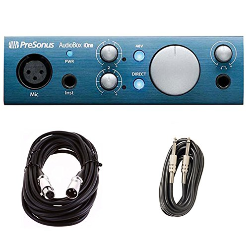 PreSonus AudioBox iOne iPad and Computer Interface with XLR & Instrument Cables Bundle