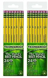 Dixon Ticonderoga Wood-Cased #2 HB Pencils, 2 Pack Box of 24, Yellow (13924) (Bundle)