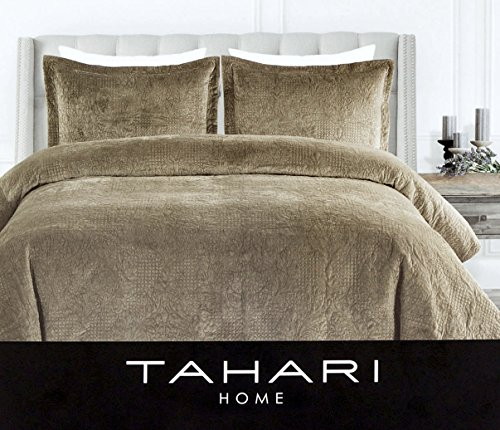 Tahari Home 3pc Plush Velvet Quilted Floral Damask 3pc Full Queen Duvet Cover Set Textured Stitching Sage Khaki