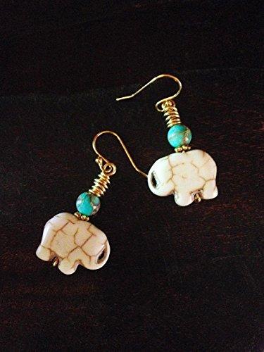 - Lucky Bohemian Tribal White Howlite And Blue Jasper Gemstone Elephant Earrings