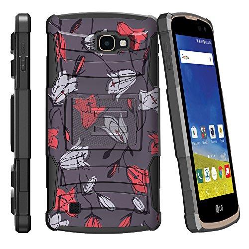 (MINITURTLE Case Compatible w/LG K4 |Optimus Zone 3| LG Spree |LG Rebel Cases [Clip Armor] Fusion Cover Hard Clip Combo Stand Case - Tulips Flowers)