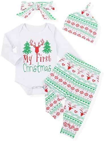 My First Christmas Newborn Baby Boy Girl Clothes Long Sleeve Romper,Red Plaid Pants + Cute Hat 3pcs Outfit Set