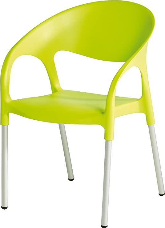 LEBER 4 x sillón Turbo Aluminio/Resina Verde Pistacho. Apilable. Uso Exterior. Hostelería, jardín y terraza.: Amazon.es: Jardín