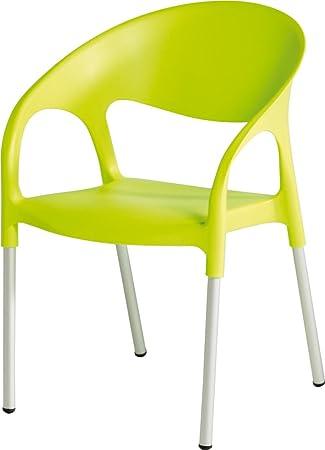 LEBER 4 x sillón Turbo Aluminio/Resina Verde Pistacho ...