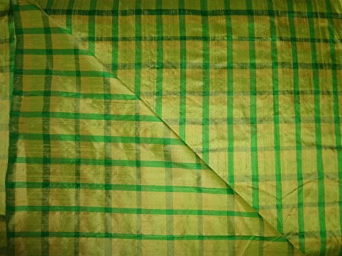 Green & Yellow Color Pure Silk Dupioni Plaids Fabric ()