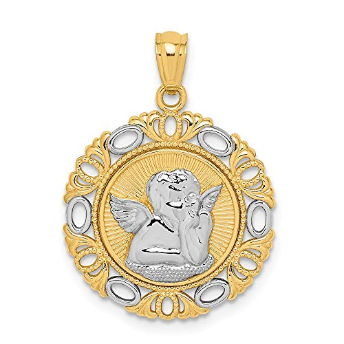 14k Yellow with White Rhodium Two-tone Gold Cherub Fancy Pendant