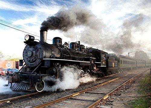 Railroad Real Photo Train (Leowefowa 7X5FT Retro Old Locomotive Backdrop Ancient Steam Train Backdrops for Photography Vintage Railroad Tracks Vinyl Photo Background Blue Sky White Cloud Kids Lover Travel Photo Studio Props)
