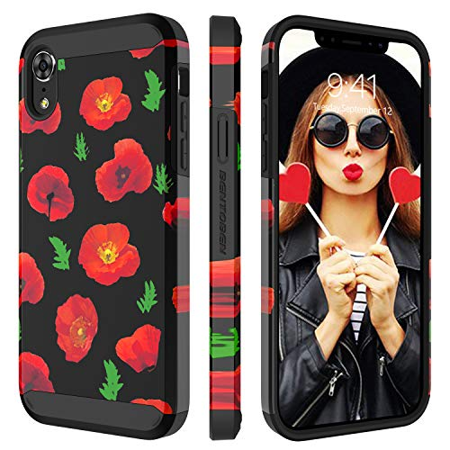 BENTOBEN Case for iPhone XR 6.1 Inch 2018, Dual Layer Hybrid Hard PC Flower Cover Soft Rubber Heavy Duty Bumper Anti-Slip Shockproof Protective Rugged Floral Phone Cover for Apple iPhone XR, Red