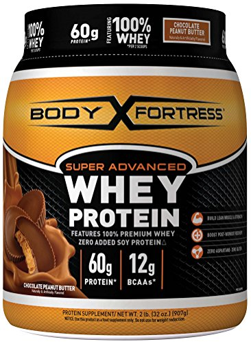 Body Fortress Super Advanced Whey Protein, Chocolate Peanut Butter Protein Supplement Powder to Build Lean Muscle & Strength 1-2lb Jar.