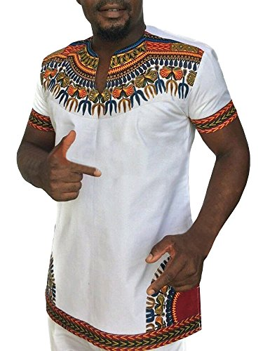 Gtealife Men's African Print Dashiki T-Shirt Tops Blouse (White, S) by Gtealife