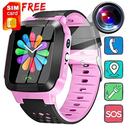 [Free Sim Card] Kids Smart Watch Girls Boys - GPS Locator Phone Call 1.44'' Touch Screen Activity Sport Wearable with Game SOS Camera Flashlight Happy Easter Gifts for School Prize ()