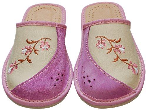 Bawal - Zapatillas de estar por casa de Piel para mujer rosa Pink-Beige