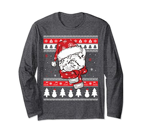 Unisex Funny Christmas Bengal Cat Long Sleeve T-Shirt Cute Cat Gift Medium Dark Heather