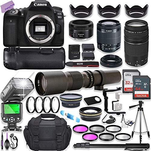 Canon EOS 90D DSLR Camera w/ 18-55mm Lens Bundle + Canon 75-300mm & Canon 50mm f/1.8 Lens + 500mm Preset Lens + Camera…