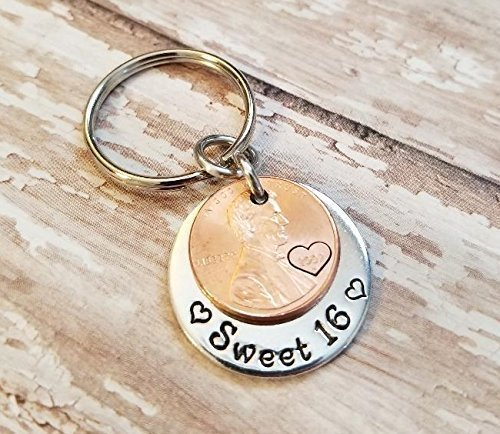 Sweet 16 Happy 16th Birthday Lucky Penny Key Chain with a 2002 Copper Coin
