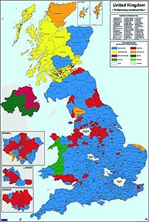 Map Of Uk Parliamentary Constituencies.Westminster Parliamentary Constituencies Colour Map Matt Paper