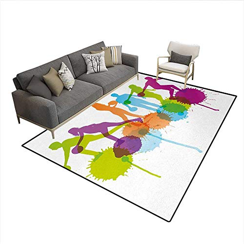 Floor Mat,Player Silhouettes Throwing Ball with Big Color Splatters Activity Fun Theme,Rugs for Bedroom,MulticolorSize:6'6
