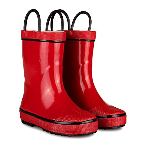 [SBR003P-RED/BLACK-T5] Boys Rain Boots: Red Black Easy On Toddler Boot Size (Classic Raincoat Liner)