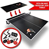 Conversion Ping Pong Table Tennis Top for Pool Table | Full Size Outdoor Foldable Portable Black Ping-Pong Set | Includes Balls, 4X Racket and Net