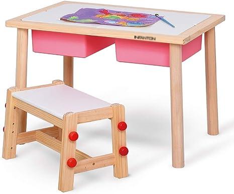 TONGSH Juego de Mesa y Silla de Madera Mesa de Estudio para niños Mesas y sillas de Juguete para niños Mesa de Juegos de jardín de Infantes Puede soportar un Peso de