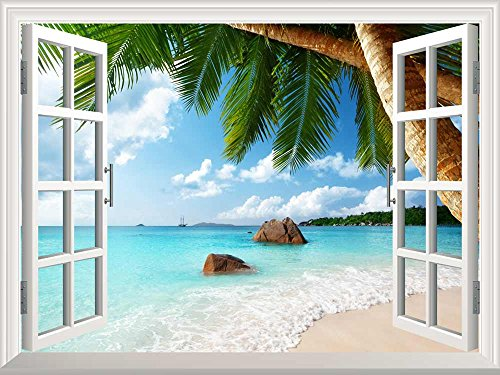 Removable Wall Sticker Wall Mural Anse Lazio Beach on Praslin island in Seychelles Creative Window View Wall Decor