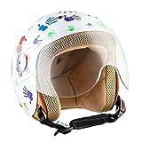 SOXON SK-55 Kids Color Hands · Biker Motorcycle-Helmet Chopper Bobber Kids-Helmet Mofa Jet-Helmet Jet-Helmet Kids Scooter-Helmet Vintage Retro Pilot Vespa-Helmet Cruiser Kids · ECE certified · incl. Visor · incl. Cloth Bag · White · XS (51-52cm)