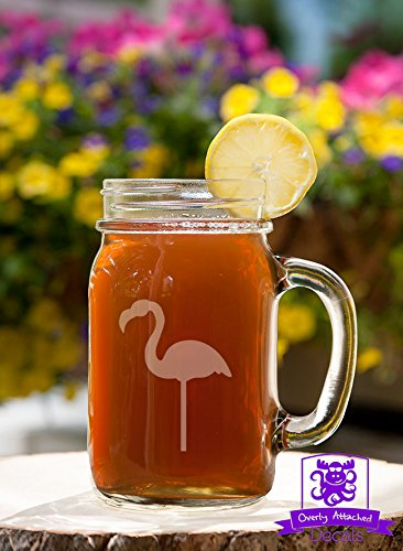 Lawn Flamingo Mason Handled Jar Beer Mug Gift ()