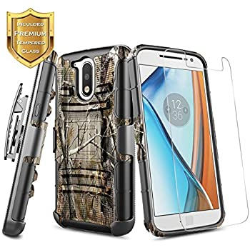 Moto G4 Case, Moto G4 Plus Case w/[Tempered Glass Screen Protector], NageBee [Heavy Duty] Armor Shock Proof [Belt Clip] Holster [Kickstand] Combo Case for ...