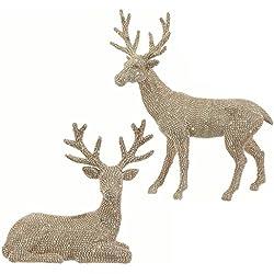 20 Inch High Set of 2 Rhinestone Champagne Gold Deer - Christmas Reindeer in Glittered Rhinestone