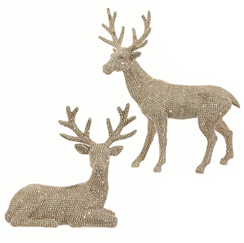 20 Inch High Set of 2 Rhinestone Champagne Gold Deer - Christmas Reindeer in Glittered Rhinestone Gold Deer