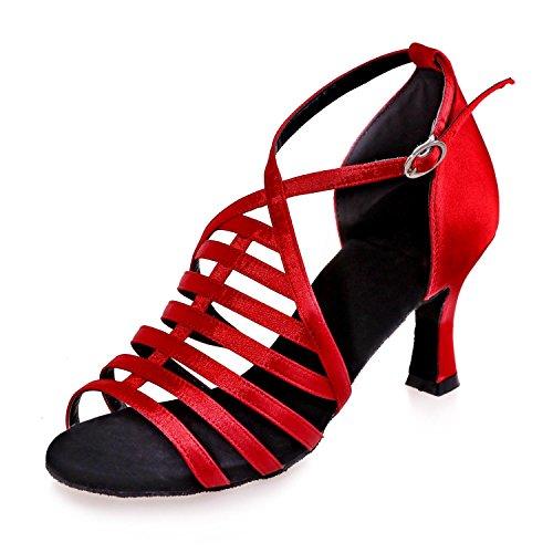 L@YC Zapatos Para Mujer / Baile artificial Cuero Latino / Sandalias De SalóN / Cubano / Principiante / Profesional / Personalizable # Red