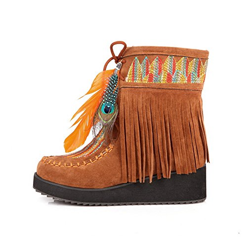 Yellow Tassels with Frosted Boots Heels AmoonyFashion PU Kitten Toe Plush Womens Short Closed Round Color Assorted 00qOZ6C