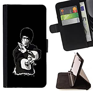 Legendary Kung Fu Guy - Painting Art Smile Face Style Design PU Leather Flip Stand Case Cover FOR Samsung Galaxy S4 IV I9500 @ The Smurfs