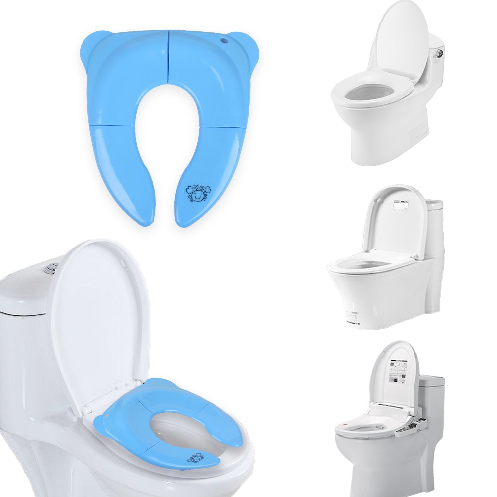 Potty Training Seats Portable Travel Toddlers and Kids Blue Safety Baby Potty Seat Foldable Reusable Non Slip Silicone Pads Comfortable Easy Clean Fits Round and Oval Toilets for Babies