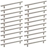 Probrico Stainless Steel Modern Cabinet Handles, Drawer Pulls, Kitchen Cupboard T Bar Knobs and Pull Handles Brushed Nickel - 7-9/16 Inch Screw Spacing - 20Pack