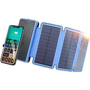 Amazon.com: Solar Power Bank Qi Wireless Solar Charger ...