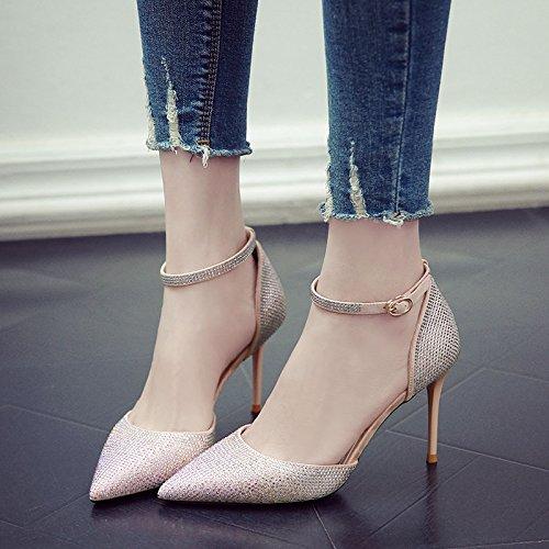 GAOLIM Lady Boda Con Chica De Finos Estrecha Zapatos Zapatos Solo Punta Para Con Rosa Primavera Tacones Una r65rq