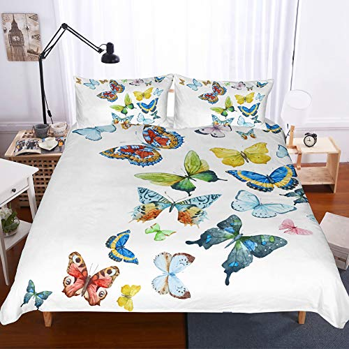 Butterfly Duvet Cover Set Colorful Butterfly Bedding Pink Yellow Blue Butterflies Printed Design White Girls Bedding Sets Queen (90